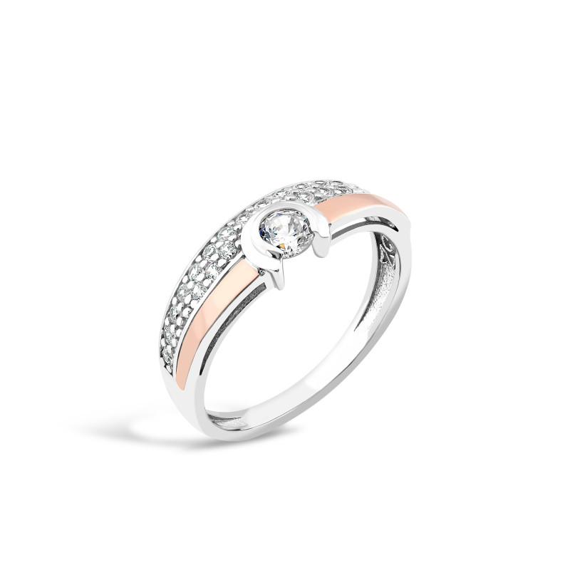 Кольцо с белым фианитом 175