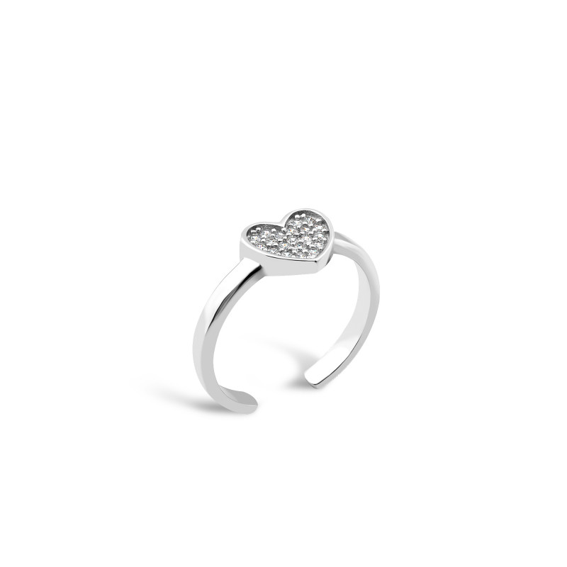 Серебряное кольцо Сердце 604