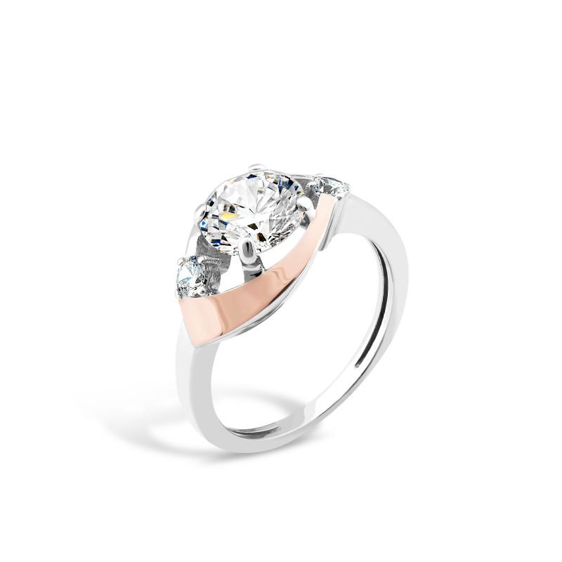 Кольцо с белым фианитом 520