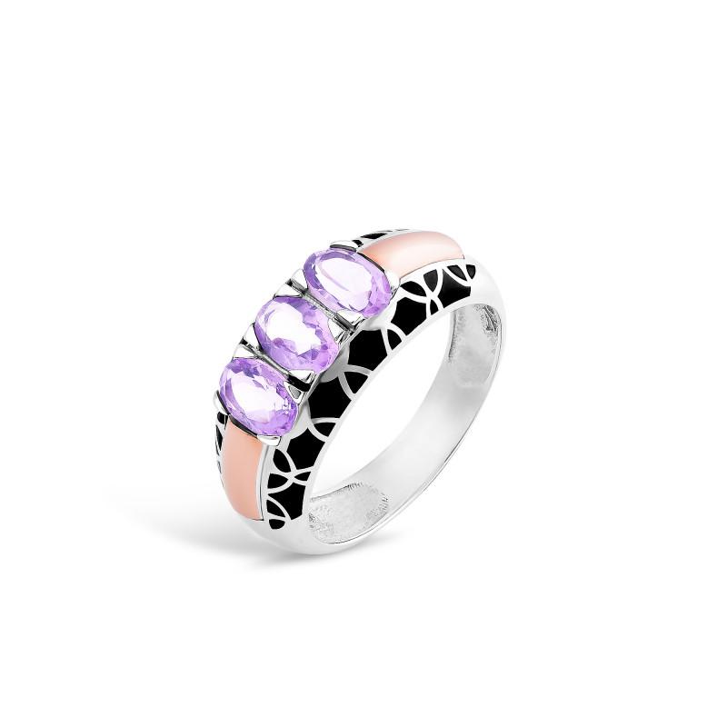 Кольцо с фиолетовым фианитом 402