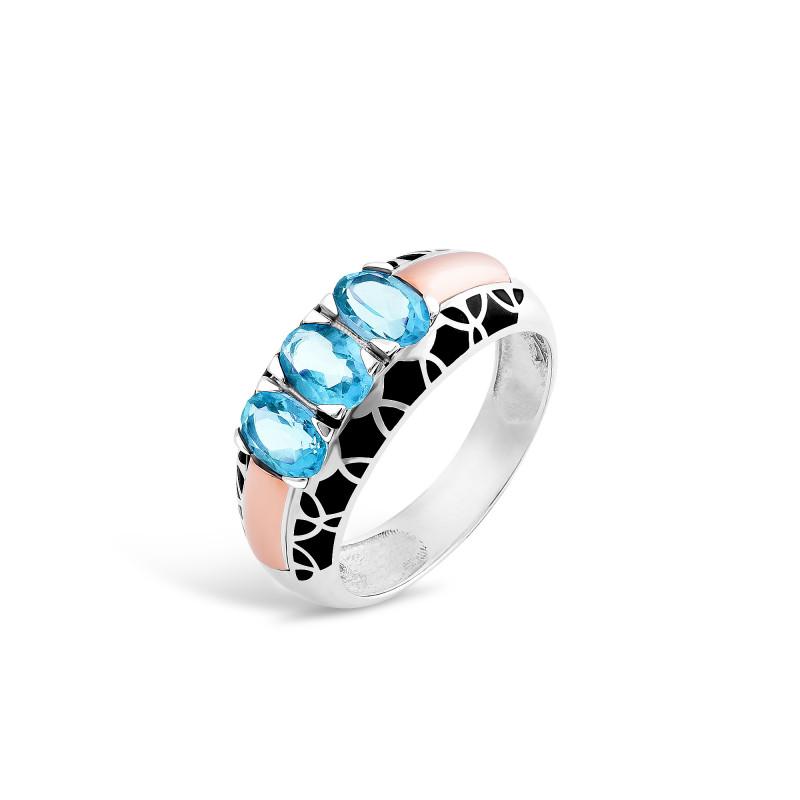 Кольцо с голубым альпинитом 402