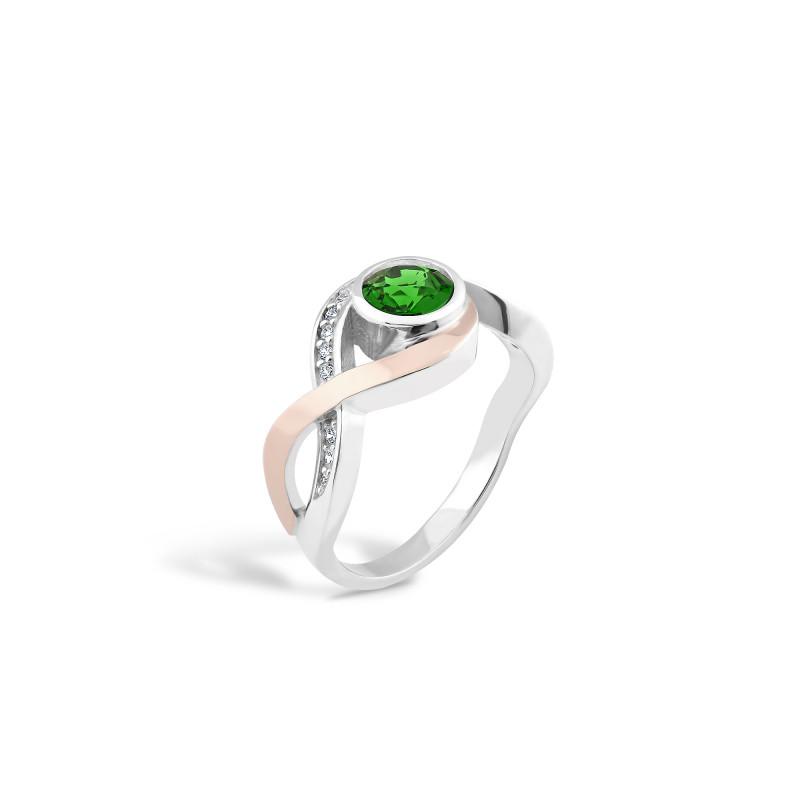 Кольцо с темно-зеленым альпинитом 515