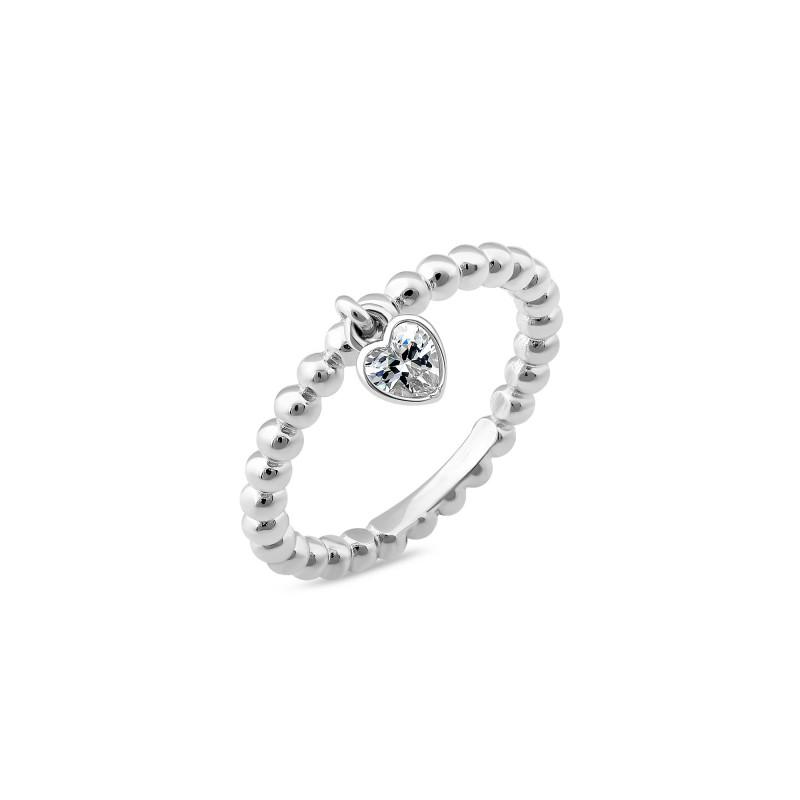 Кольцо с белым фианитом Сердечко 1065