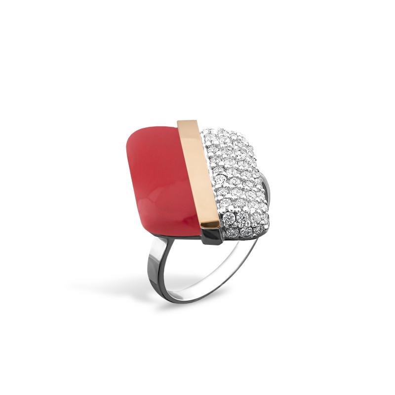 Кольцо с кораллом 237