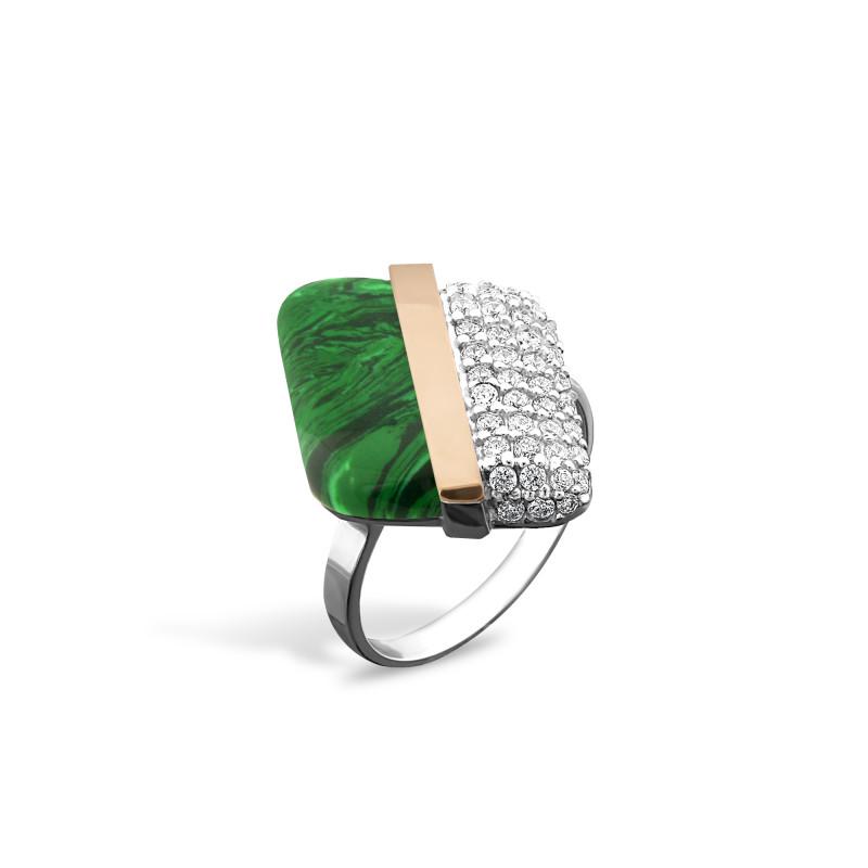 Кольцо с малахитом 237