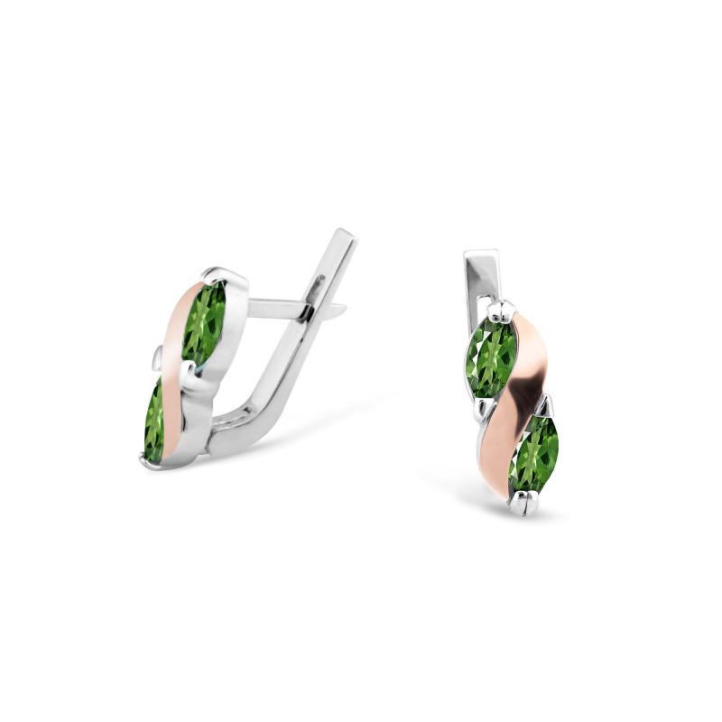 Серьги с темно-зеленым альпинитом 009