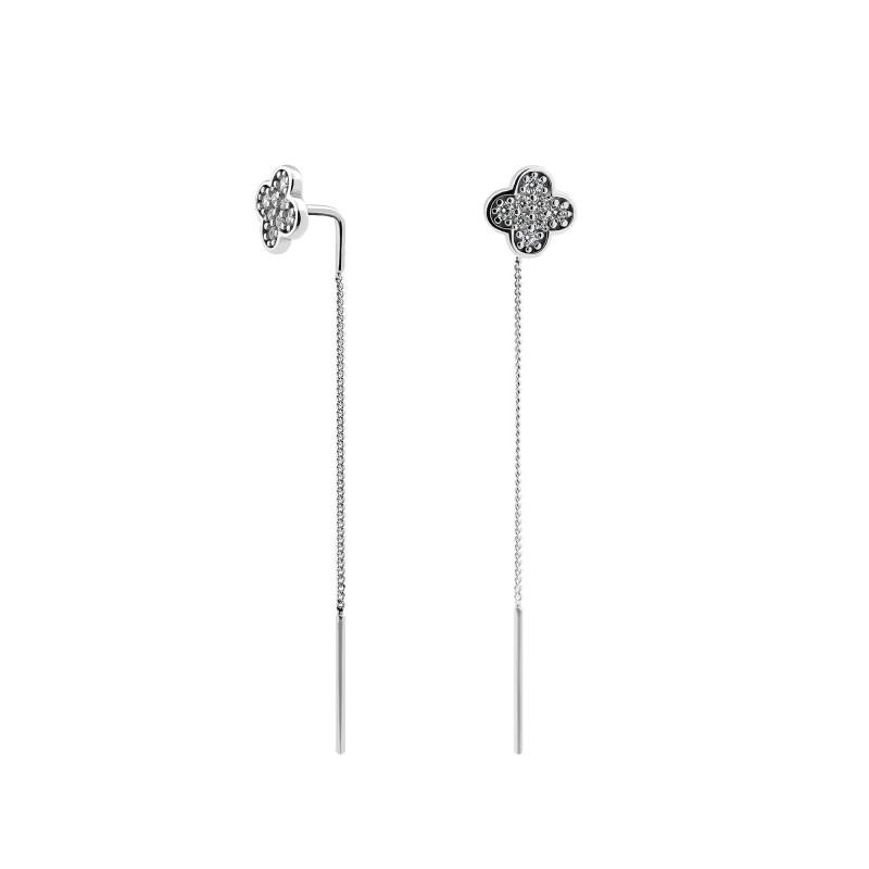 Серебряные серьги Клевер 462