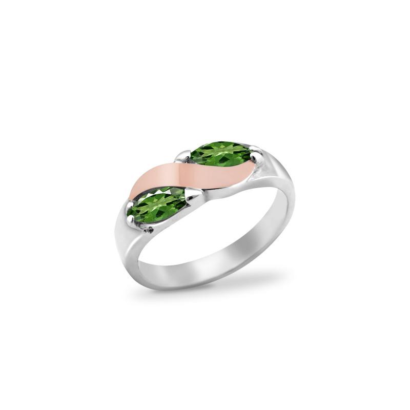 Кольцо с темно-зеленым альпинитом 009