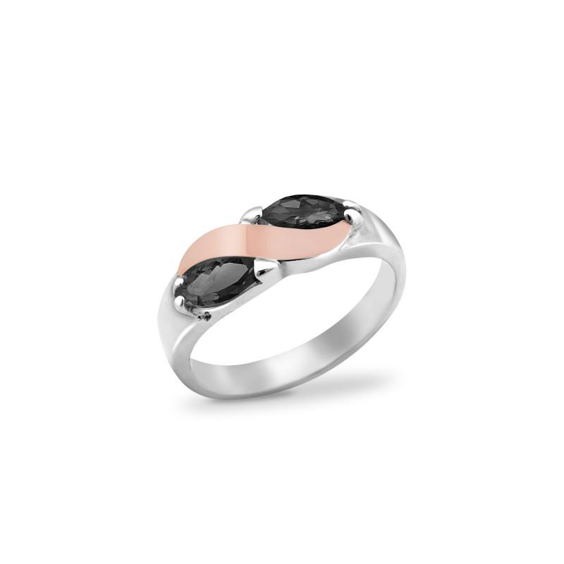 Кольцо с черным фианитом 009