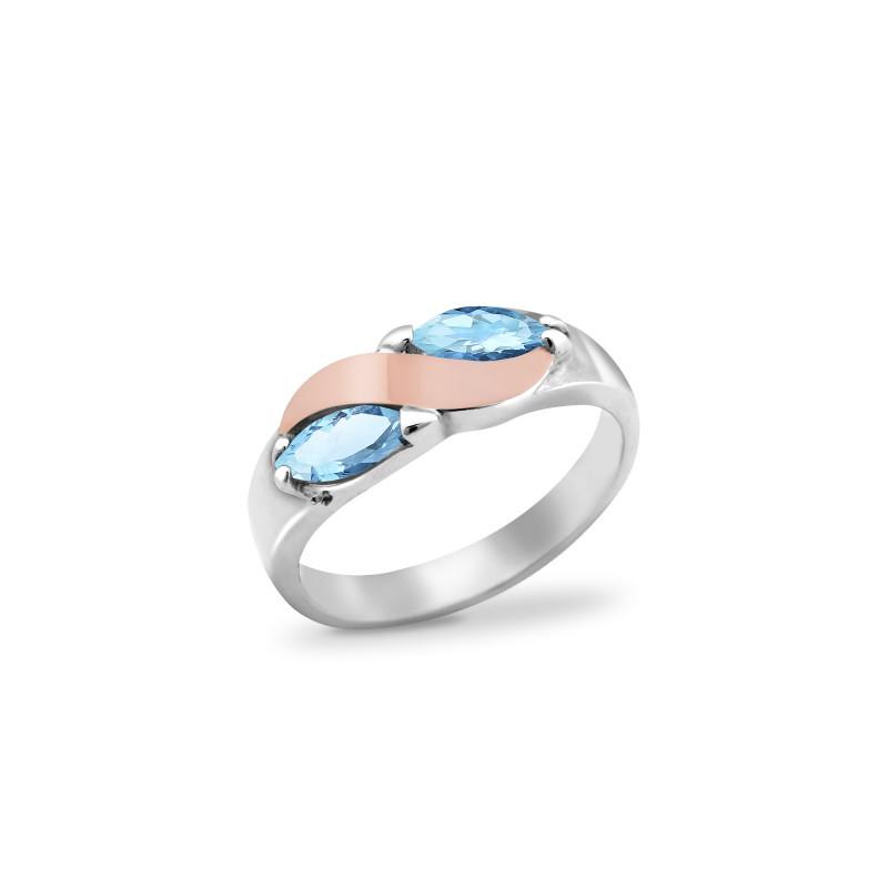 Кольцо с голубым альпинитом 009