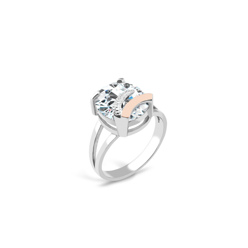 Кольцо с белым фианитом 085