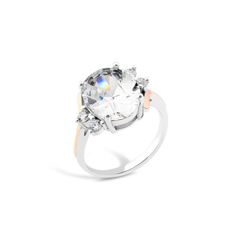 Кольцо с белым фианитом 840