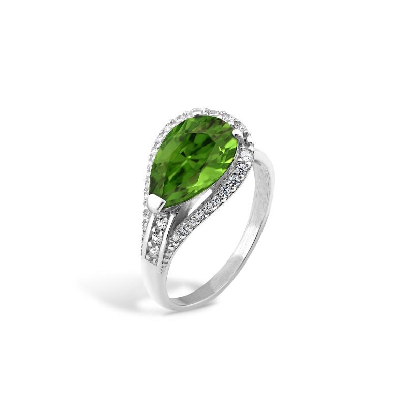 Кольцо с темно-зеленым альпинитом 448