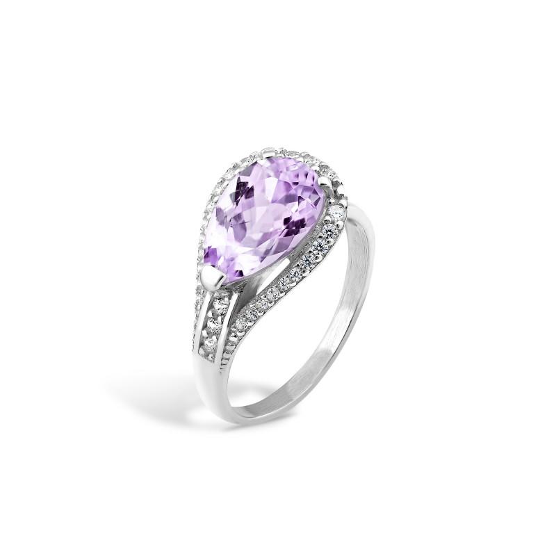 Кольцо с фиолетовым фианитом 448