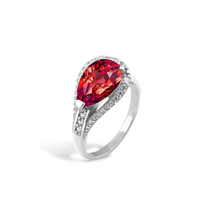 Кольцо с красным фианитом 448