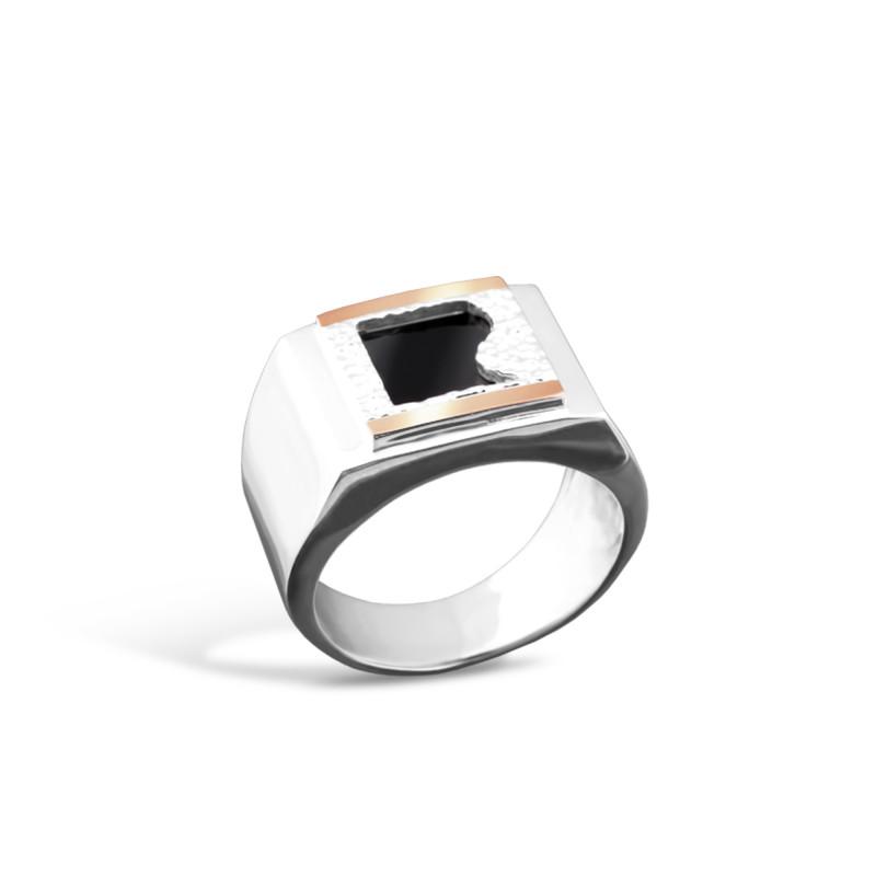 Кольцо с ониксом 021 волна