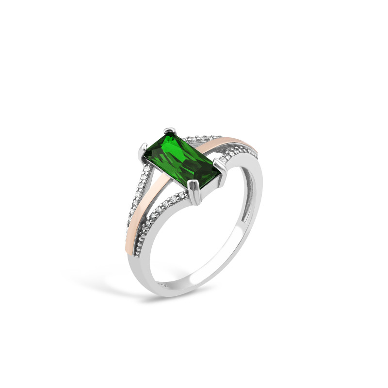 Кольцо с темно-зеленым альпинитом 702