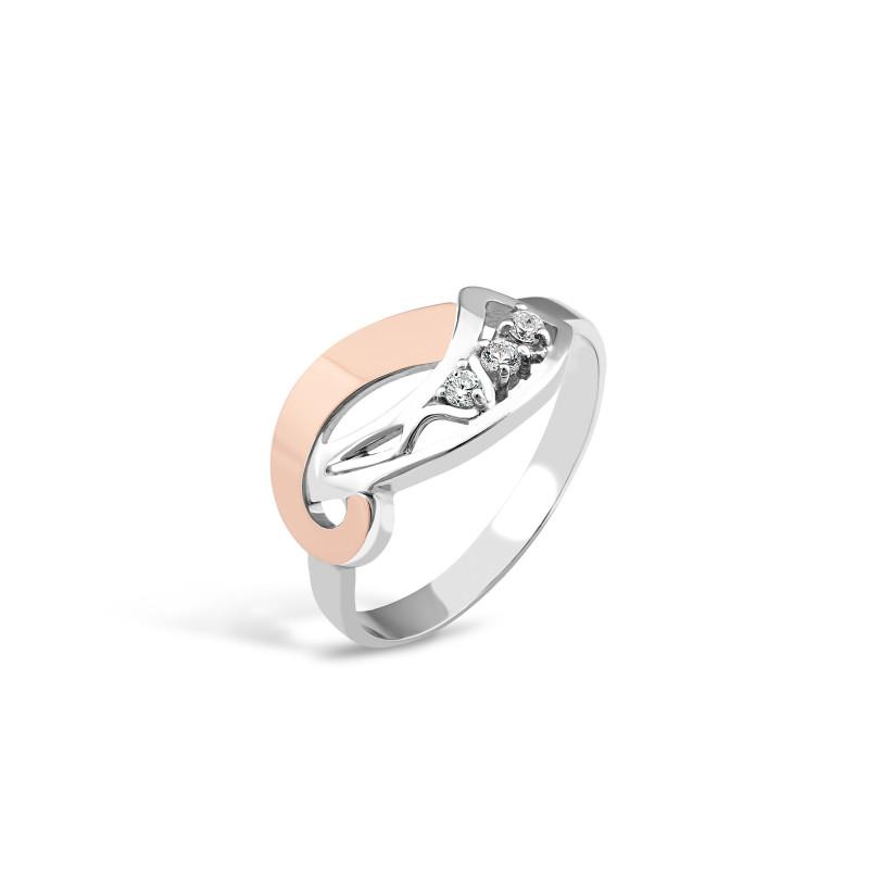 Кольцо с белым фианитом 120