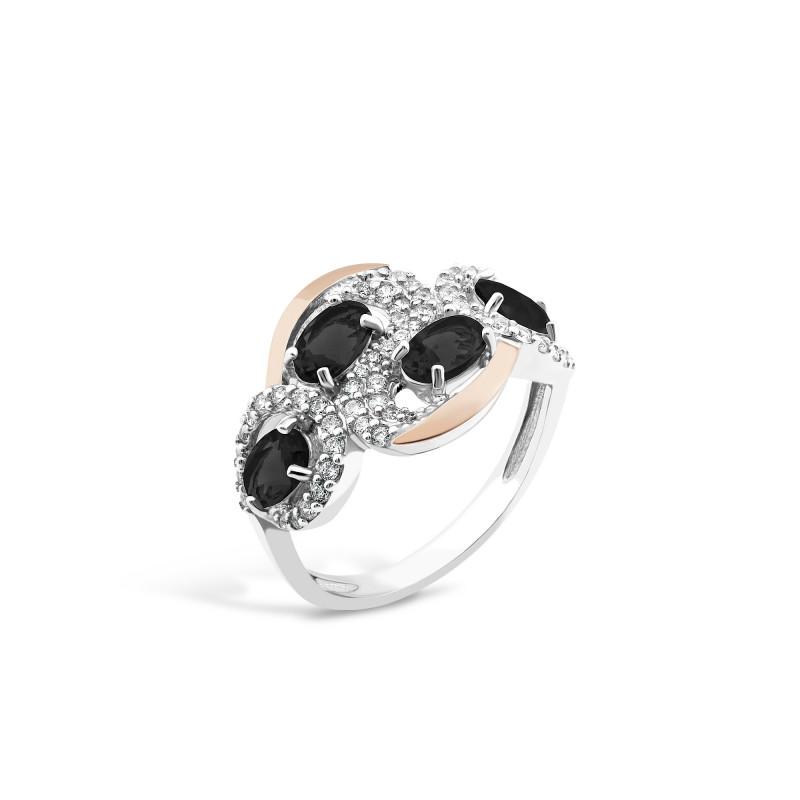 Кольцо с черным фианитом 725