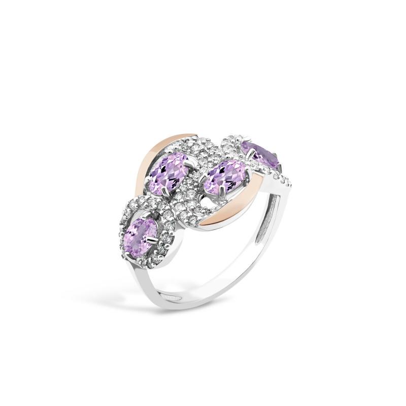 Кольцо с фиолетовым фианитом 725