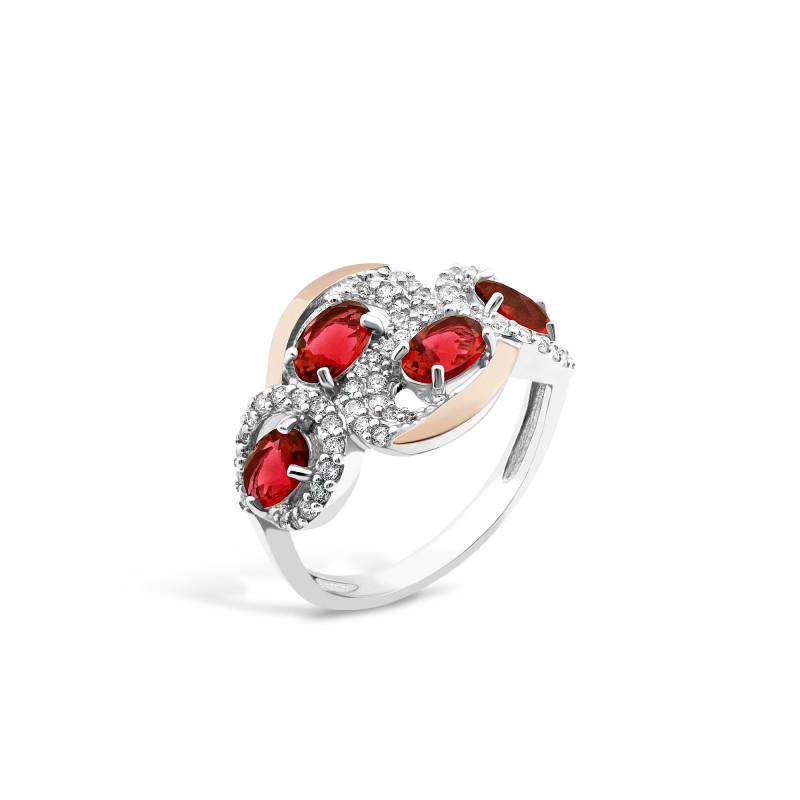 Кольцо с красным фианитом 725