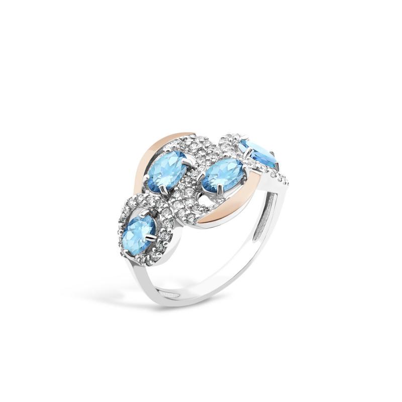 Кольцо с голубым альпинитом 725