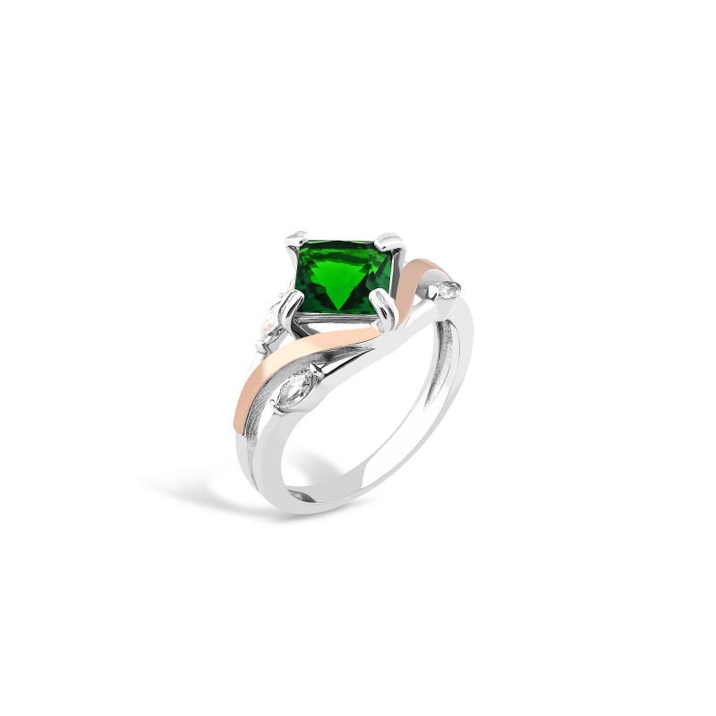 Кольцо с темно-зеленым альпинитом 726