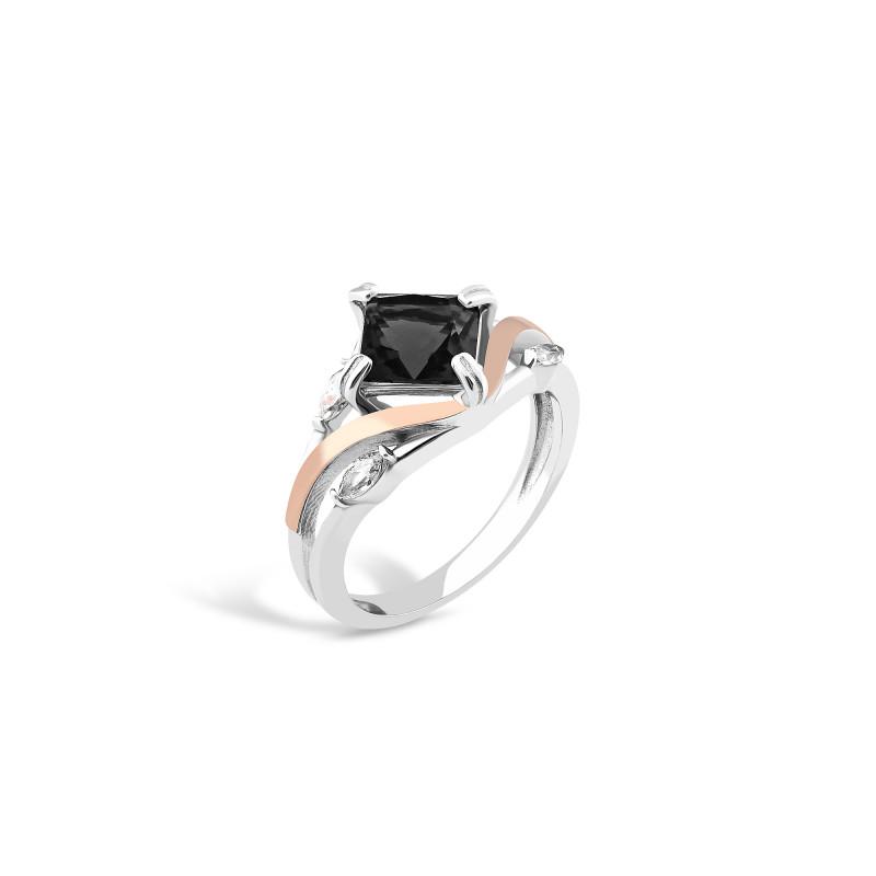 Кольцо с черным фианитом 726