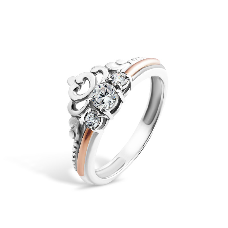 Кольцо с белым фианитом 408