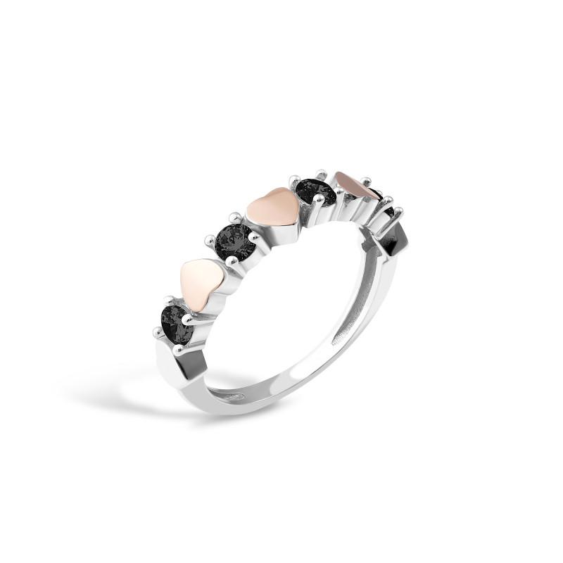 Кольцо с черным фианитом Сердечка 691