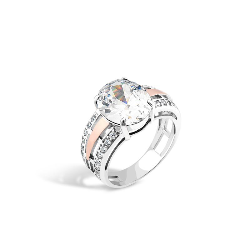 Кольцо с белым фианитом 206