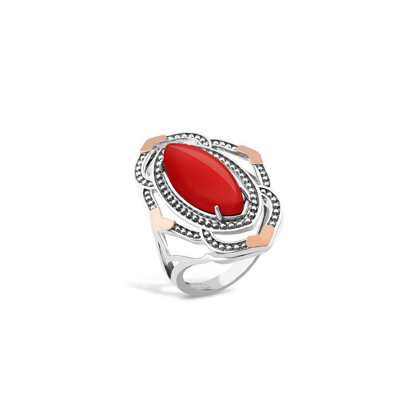 Кольцо с кораллом 630