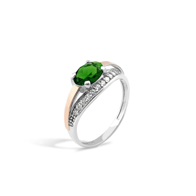 Кольцо с темно-зеленым альпинитом 263
