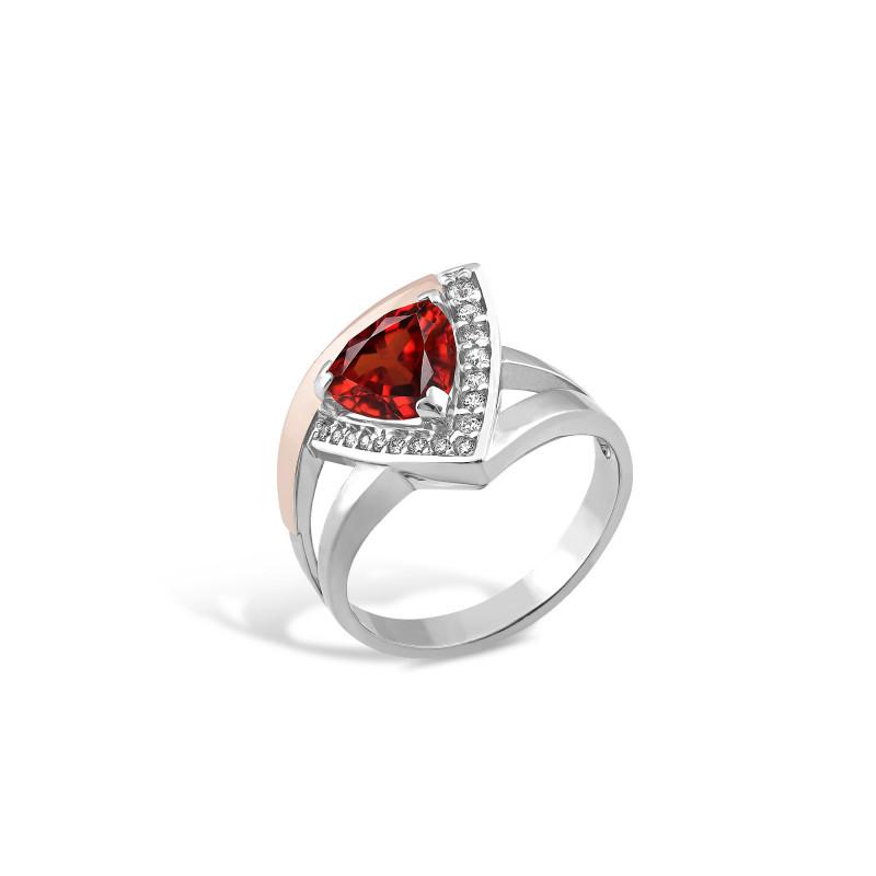Кольцо с красным фианитом 519