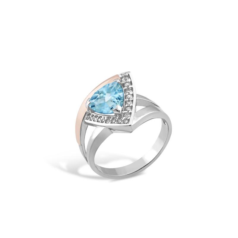 Кольцо с голубым альпинитом 519