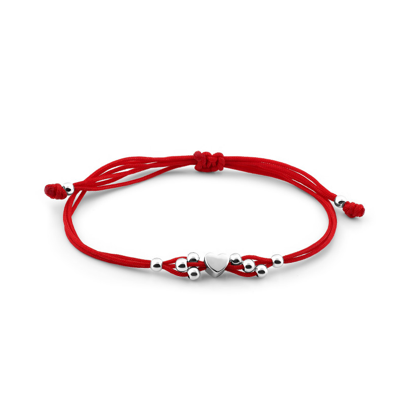 Браслет с красным шнуром Сердечко 776