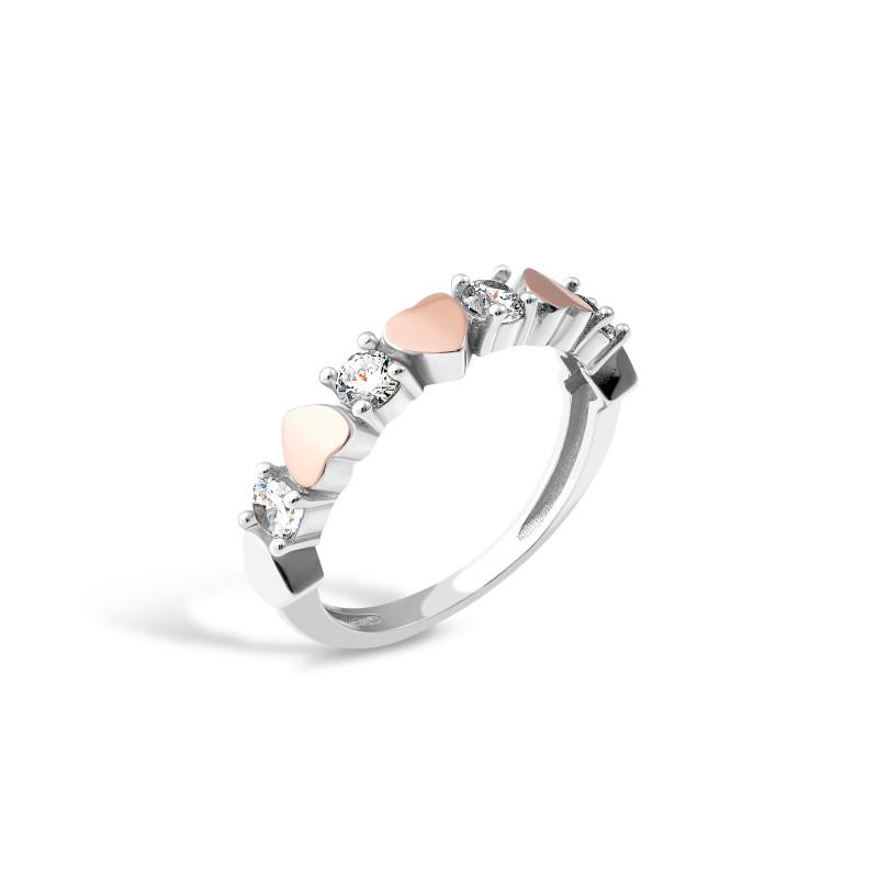 Кольцо с белым фианитом  Сердечка 691