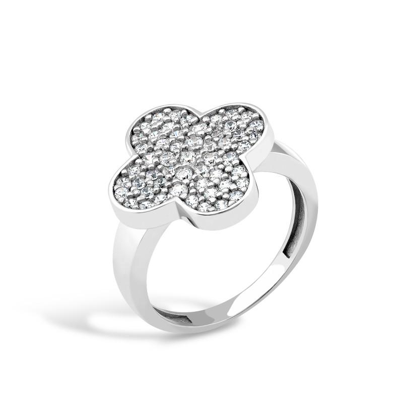 Серебряное кольцо Клевер 449