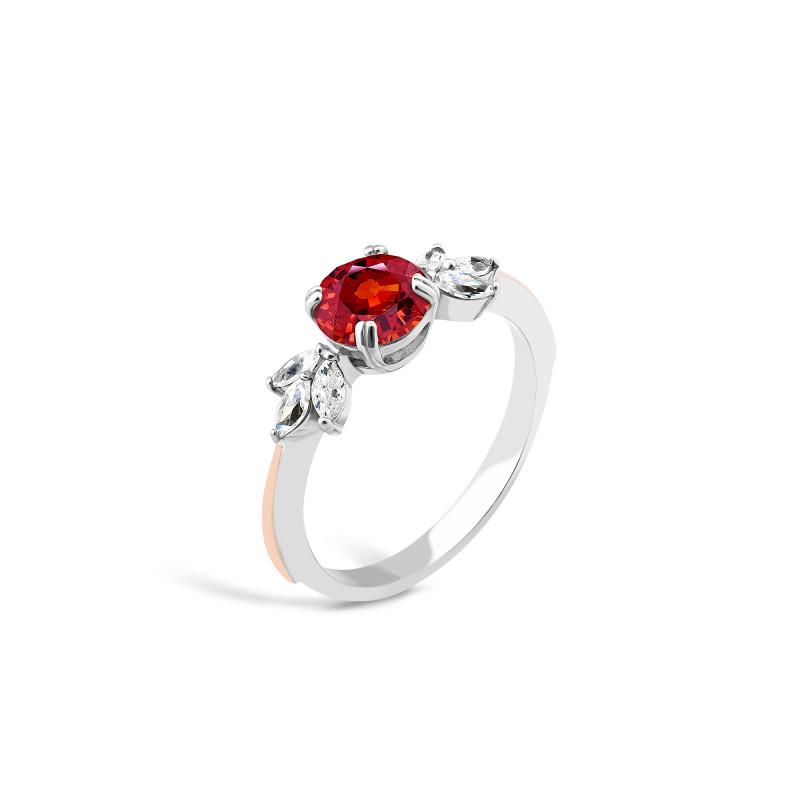 Кольцо с красным фианитом 732