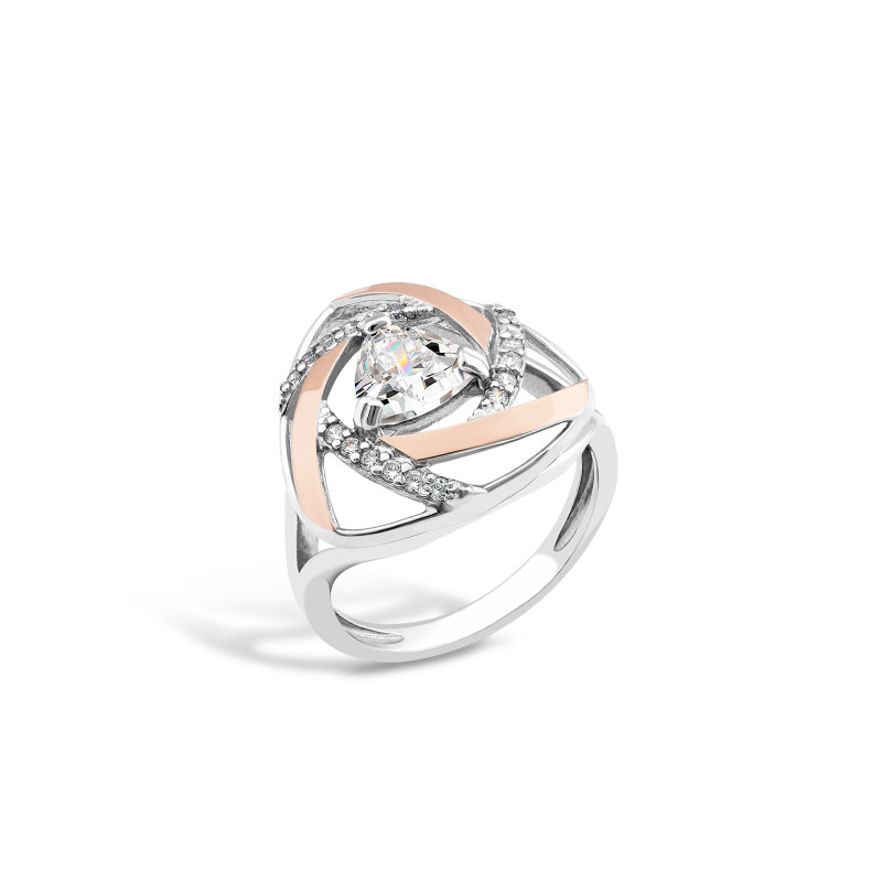 Кольцо с белым фианитом 705