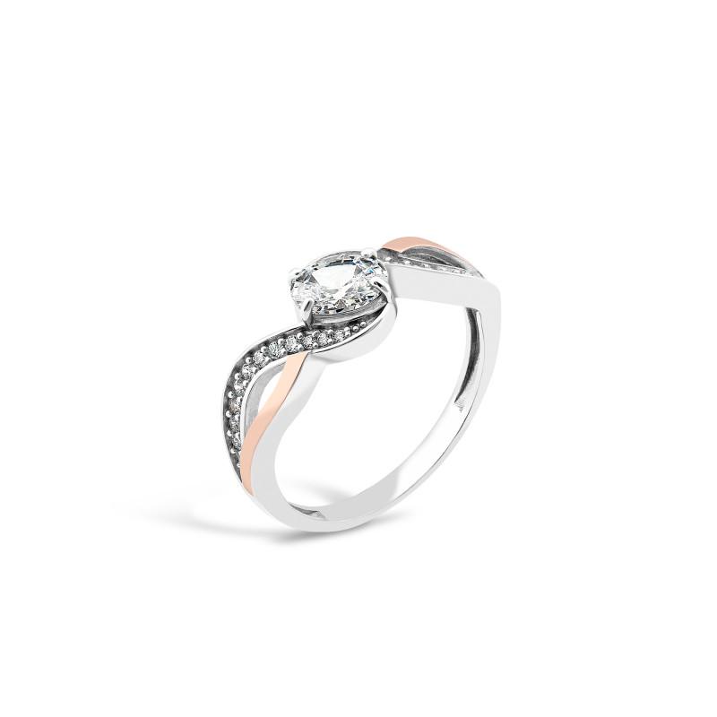 Кольцо с белым фианитом 706