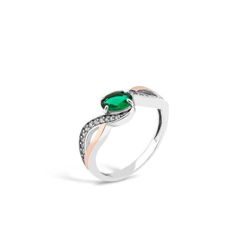 Кольцо с темно-зеленым альпинитом 706