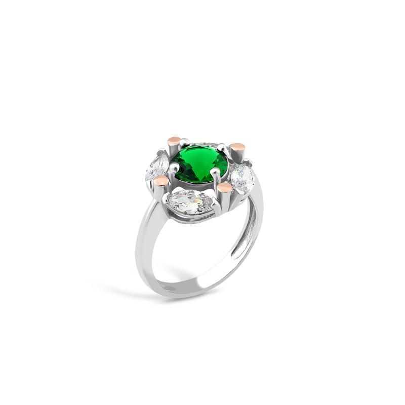 Кольцо с темно-зеленым альпинитом 643