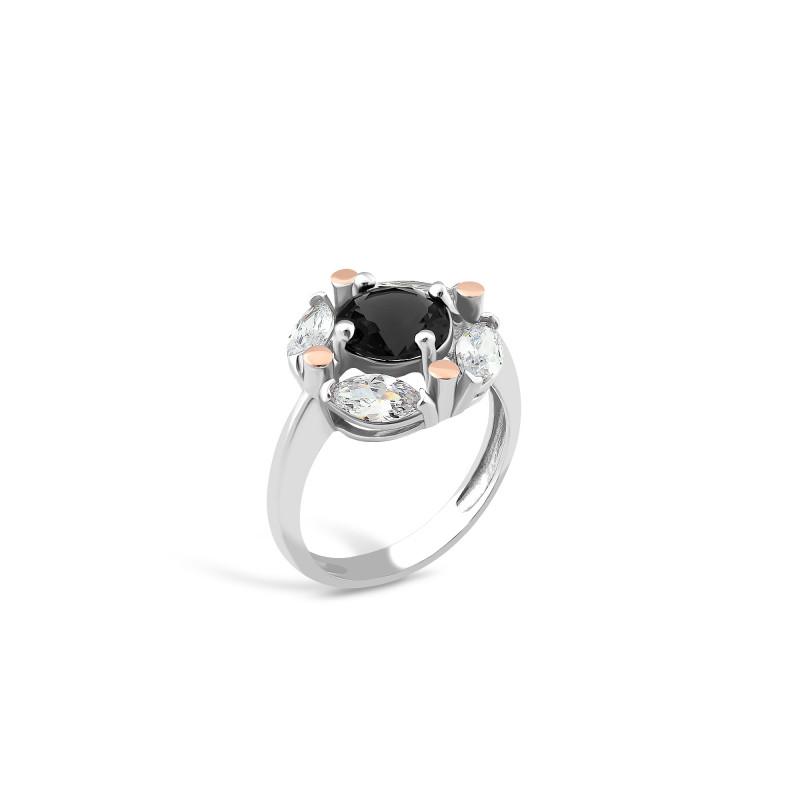 Кольцо с черным фианитом 643