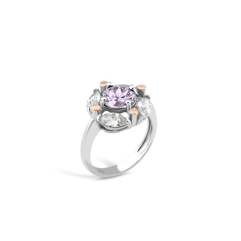 Кольцо с фиолетовым фианитом 643