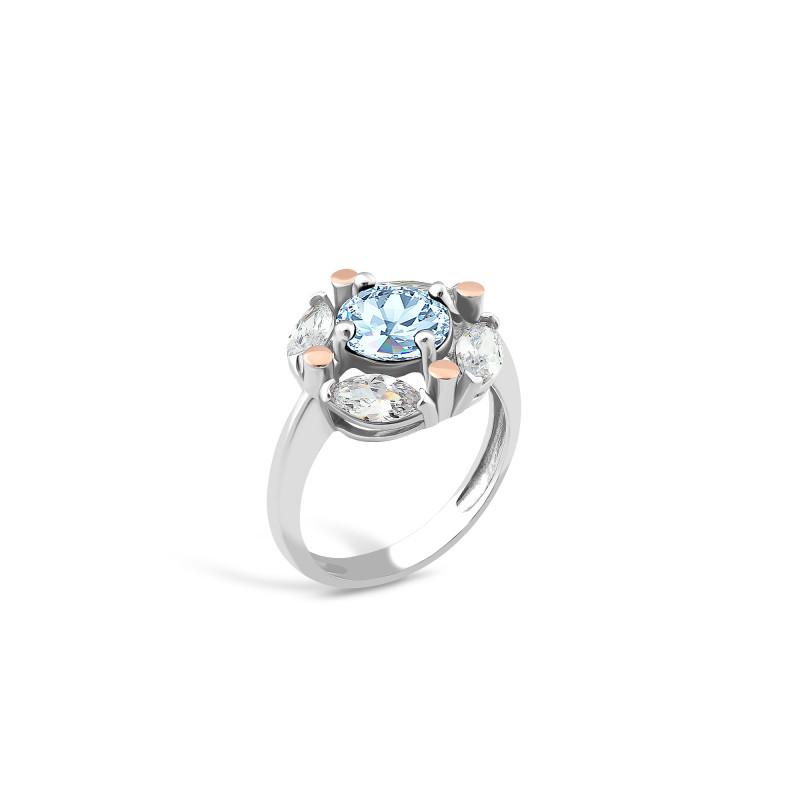 Кольцо с голубым альпинитом 643