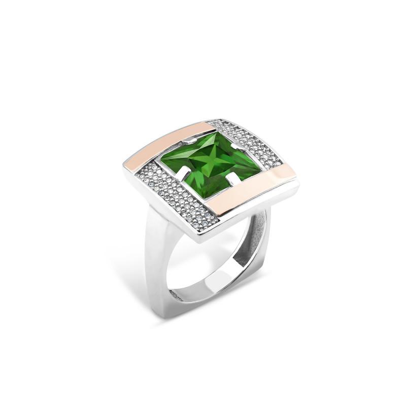 Кольцо с темно-зеленым альпинитом 481