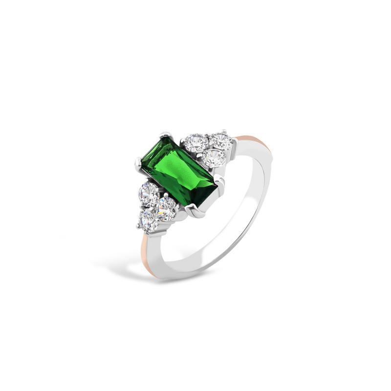 Кольцо с темно-зеленым альпинитом 729