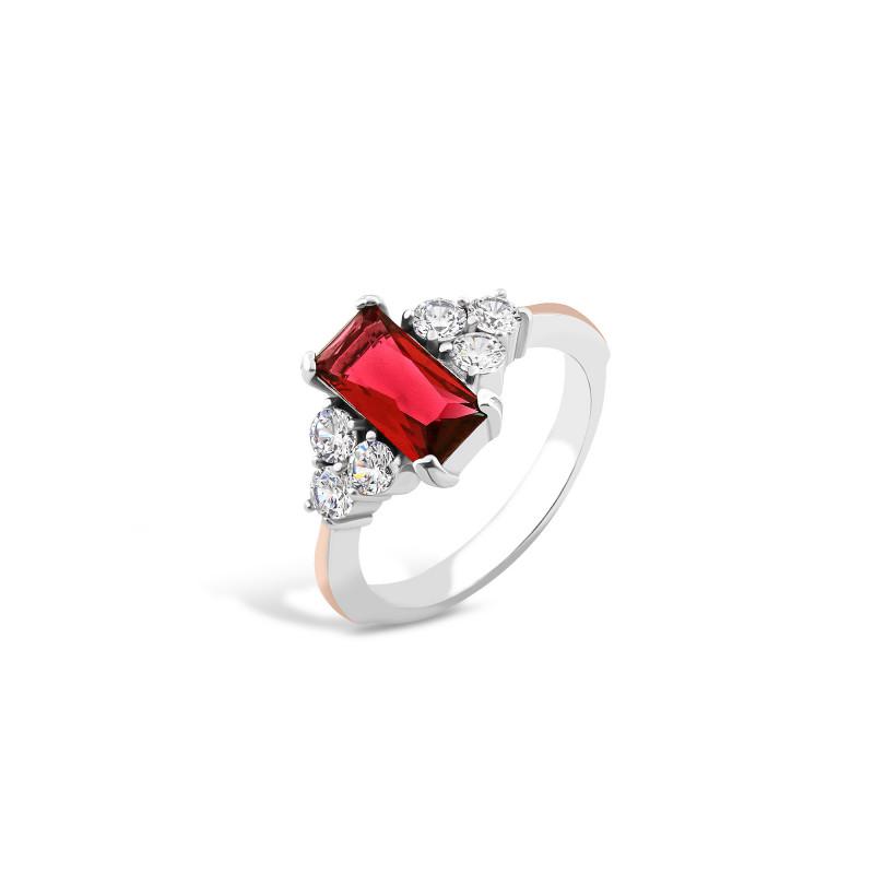 Кольцо с красным фианитом 729