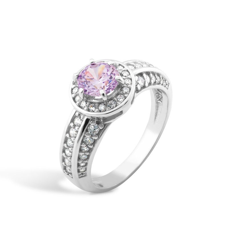 Кольцо с фиолетовым фианитом 430